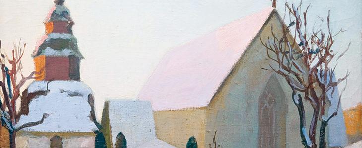 Georges von Swetlik - Tenholan kirkko myöhäisenä talvipäivänä (1970-luku, munaöljytempera)