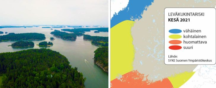 Ilmakuva Itämerestä (Ilkka Lastumäki) 2021 Kesä Leväkukintariski SYKE